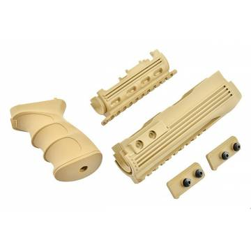 King Arms AK47S Railed Handguard and Grip v2 - TAN