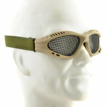 Metal Mesh Goggle Glasses - TAN