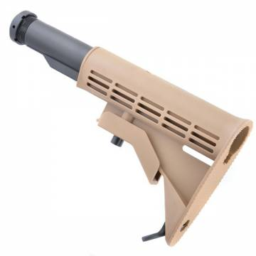 King Arms 6 Position Stock with Pipe - TAN
