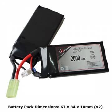 AB Battery Li-Po - 7,4V 2000mAh - 35C - Double Element