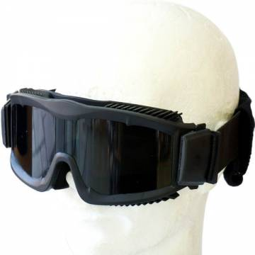 Tactical Anti-Fog Goggles w/ 3 Lenses - Black