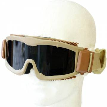 Tactical Anti-Fog Goggles w/ 3 Lenses - Tan