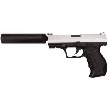 HFC Walther P99 Silencer Spring Pistol - Black / Silver