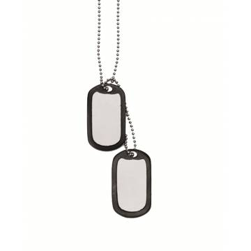 Mil-Tec US Dog Tag Set w/ Silencer - Silver