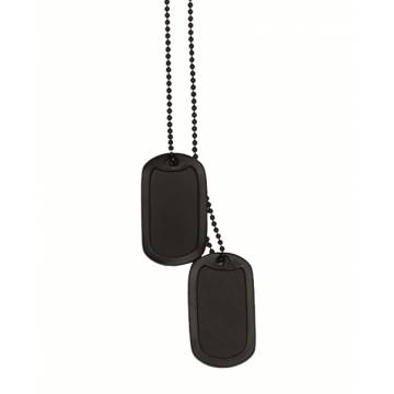 Mil-Tec US Dog Tag Set w/ Silencer - Black