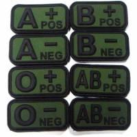 PVC 3D Blood Type Patch w/ Velcro - Black / OD