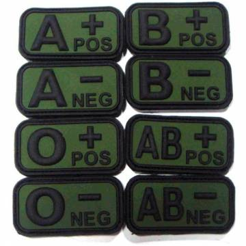 PVC 3D Blood Type Patch w/ Velcro - Black / OD
