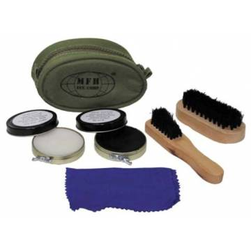 MFH Shoe Polish Set w/ Olive Pouch