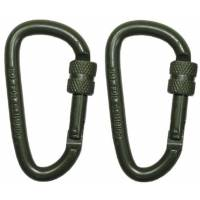 MFH Carabiner D 6mm x 6cm Screw Lock (2pcs) Olive