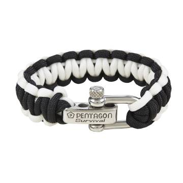Pentagon Survival Bracelet 2.0 - Black / White