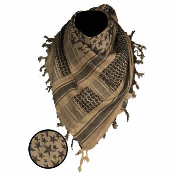 Mil-Tec Shemagh Scarf Stars - Coyote / Black
