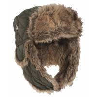 Mil-Tec Winter Cap w/ Faux Fur - Olive