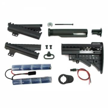 King Arms Carbine MOD Stock - BK w/Pipe 1400mAh-9.6V Battery