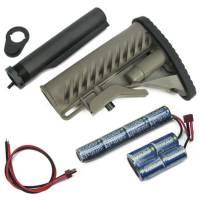 King Arms M4 Tactical Stock - DE w/Pipe-1400mAh-9.6V