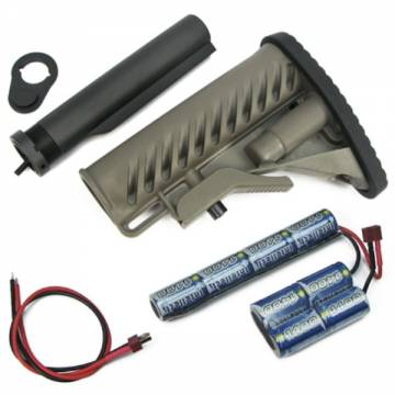 King Arms M4 Tactical Stock - DE w/Pipe-1400mAh-9.6V