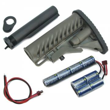 King Arms M4 Tactical Stock - OD w/Pipe 1400mAh-9.6V