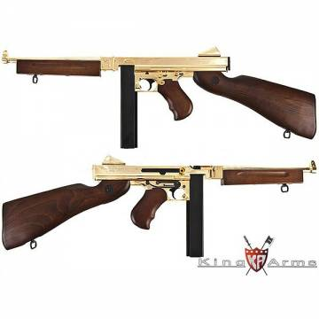 King Arms Thompson M1A1 Military Real Wood - Full Metal - Gold