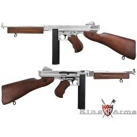 King Arms Thompson M1A1 Military Real Wood - Full Metal - Silver
