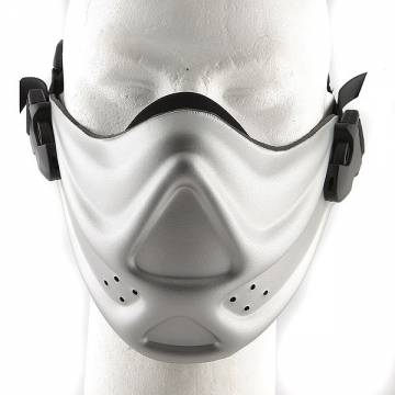 Hard Foam Neoprene Half Face Mask - Silver
